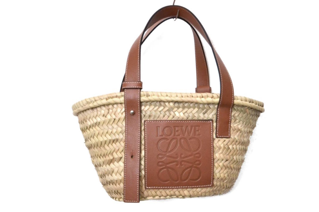 2018SS/raffia basket bag with leather trim バスケットバッグ かごバッグの買取実績画像