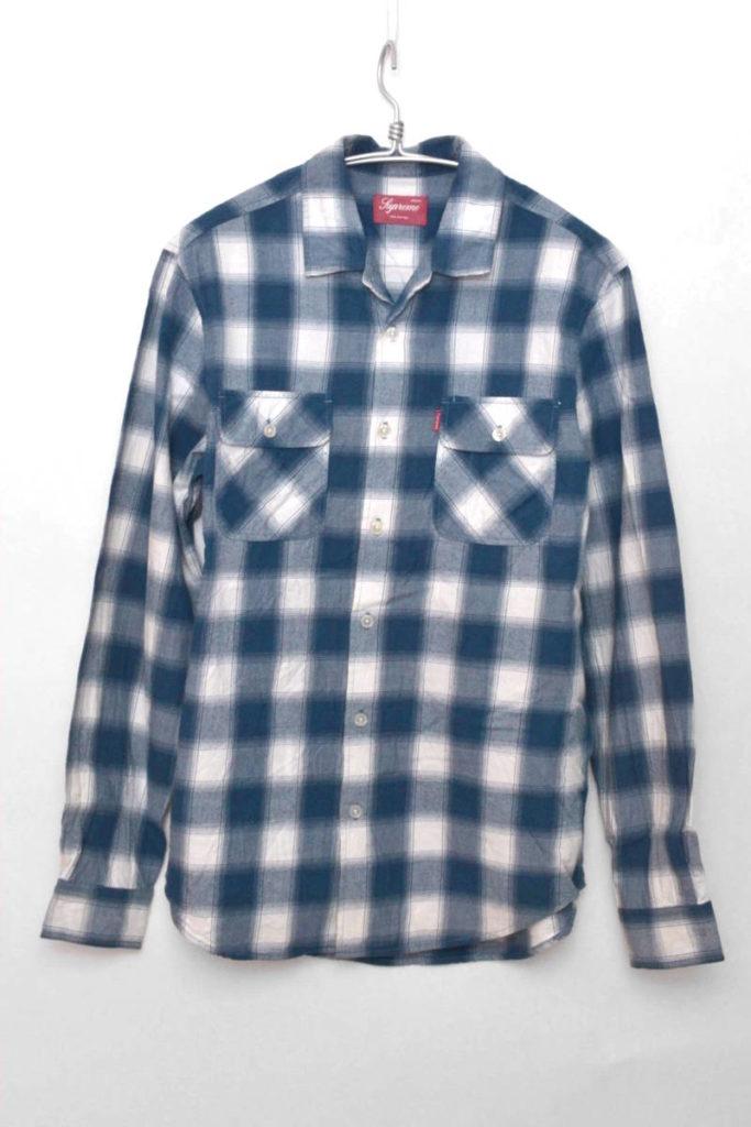 フランネルチェックオープンカラーシャツ