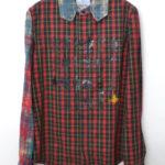 2005AW/貴族プリント オーブ刺繍 袖切替チェックシャツ