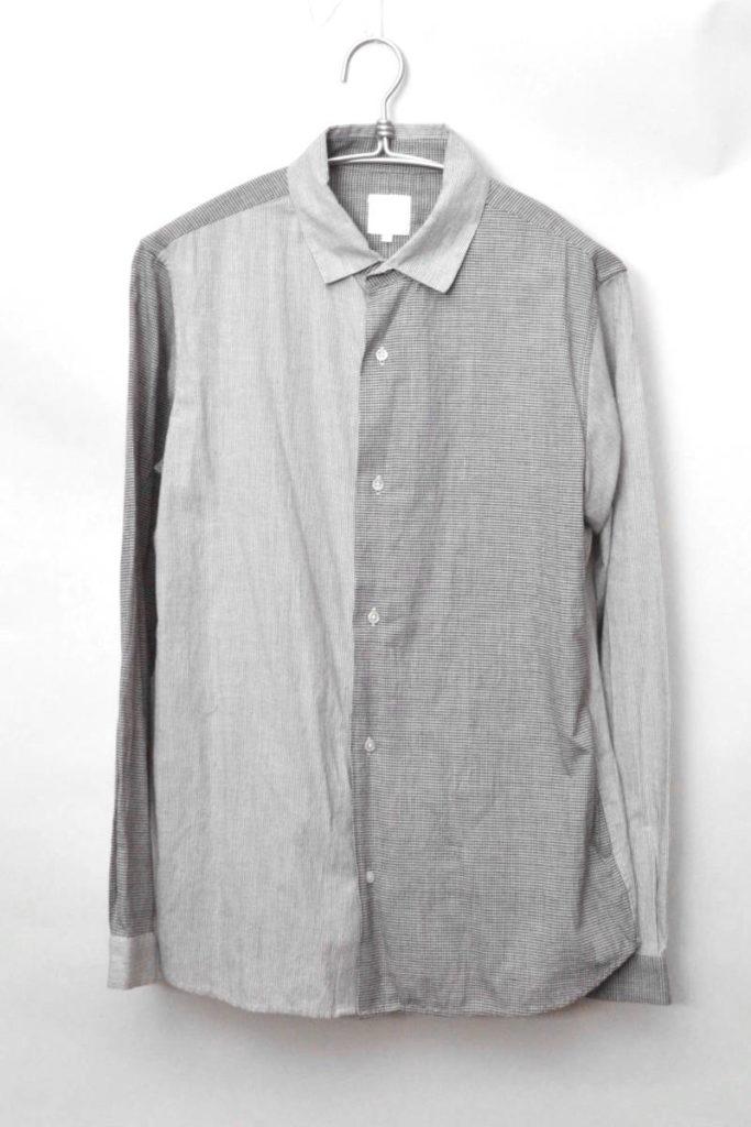 NR11350H チェック ストライプ切替 長袖シャツ