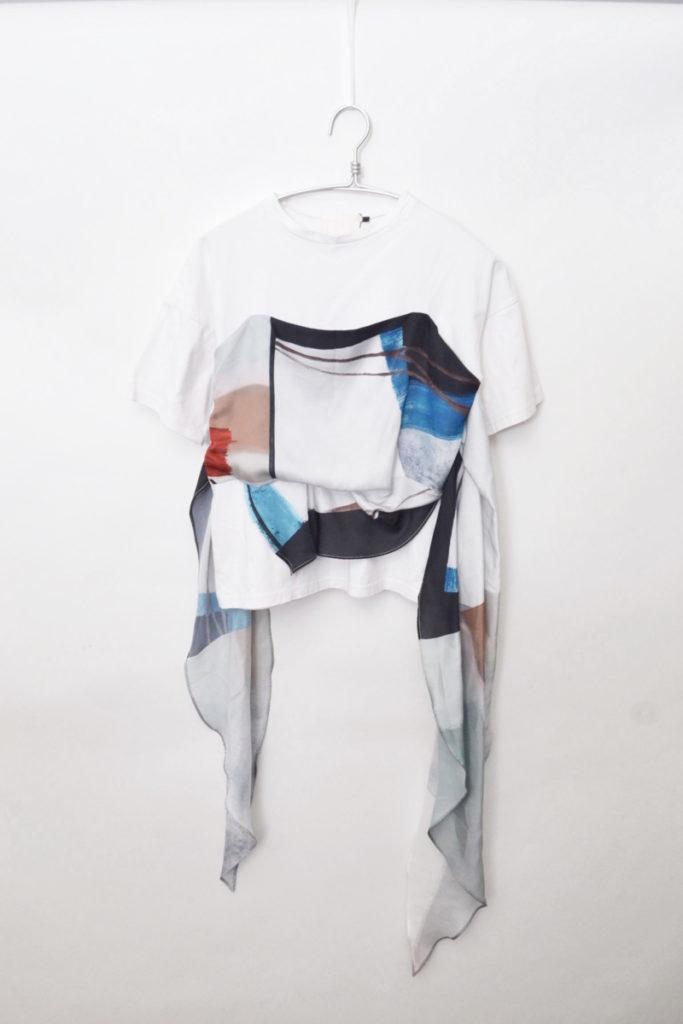 MEDI DRAWING UNEVEN TEE スカーフ ドッキングTシャツ