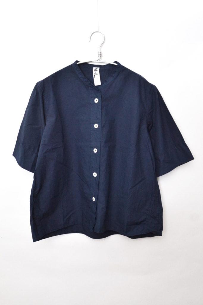 2018SS/COTTON RAMIE POPLIN コットンラミーポプリン 半袖バンドカラーシャツ