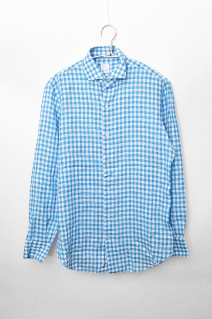 リネン ギンガムチェック ホリゾンタルカラーシャツ