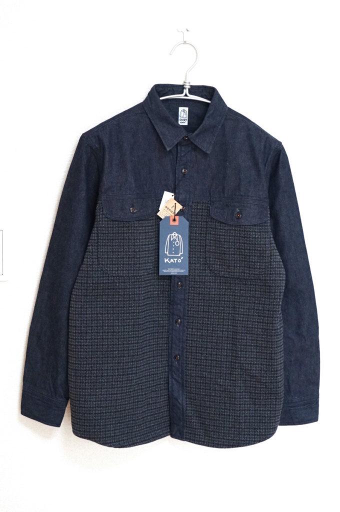 デニム ツイード 異素材切替 ワークシャツ