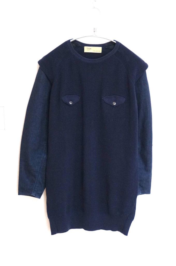 2014/ 袖デニム 切替ポケット付 ニット セーター
