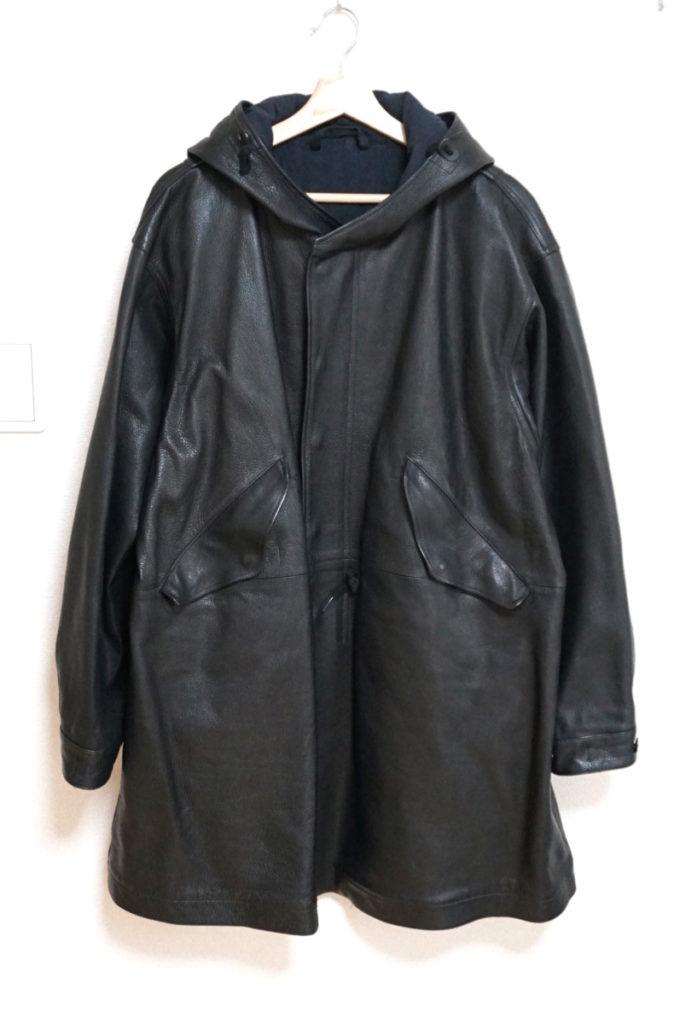 フード付き 水牛レザーコート ジャケット