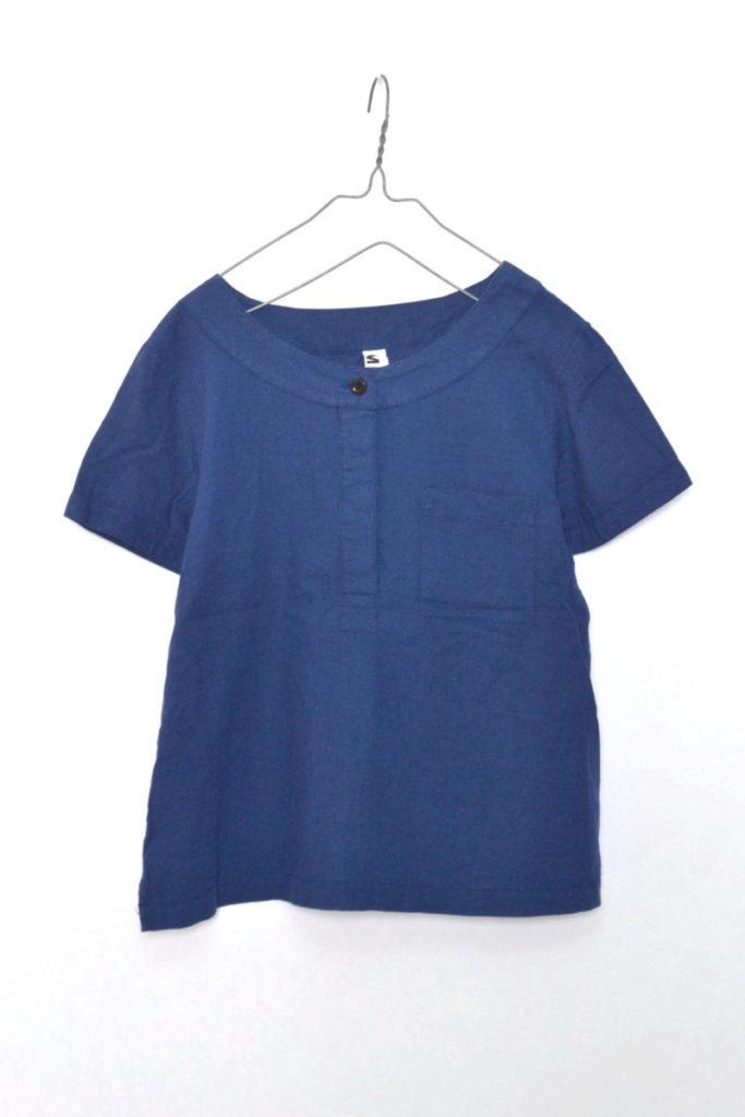 コットンリネン 半袖プルオーバーシャツ