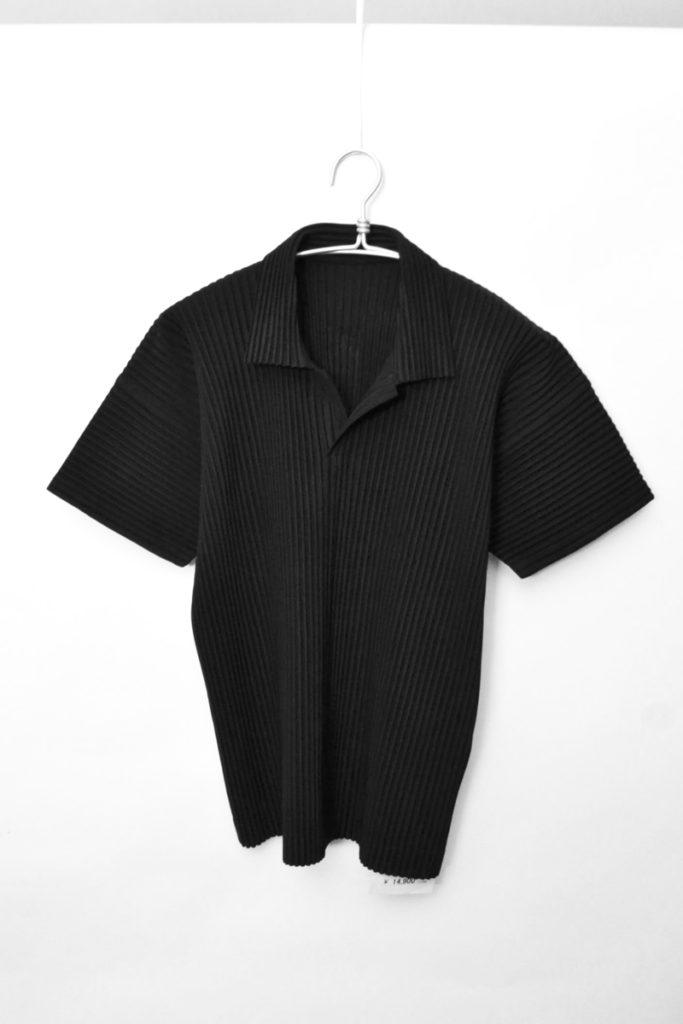 BASICS プリーツ オープンカラー半袖シャツ