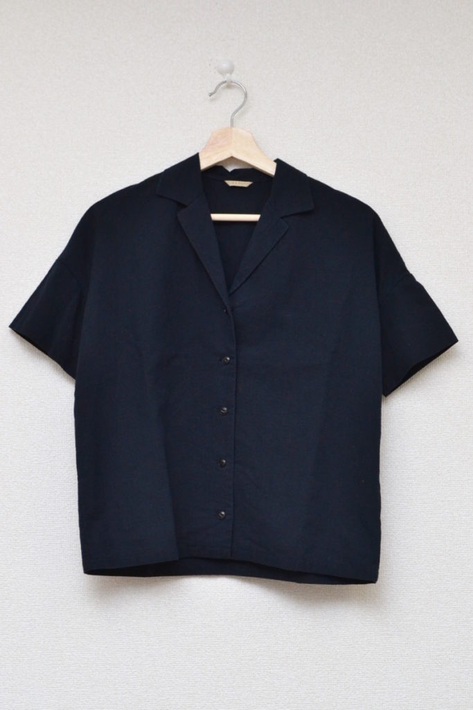 コットンリネン オープンカラー ショートスリーブシャツ
