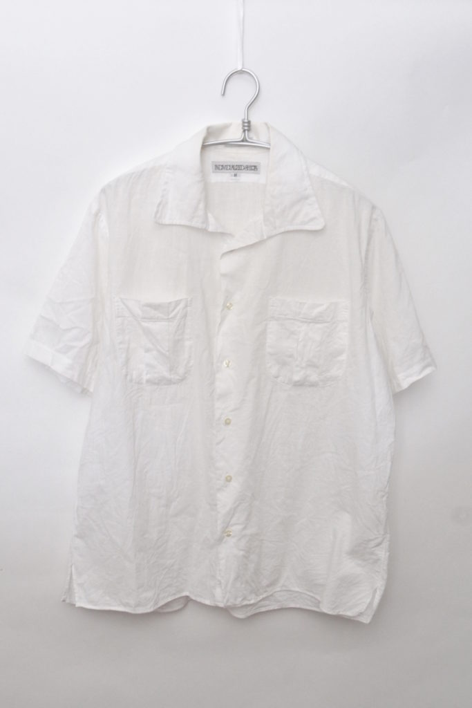 コットン半袖 オープンカラーシャツ