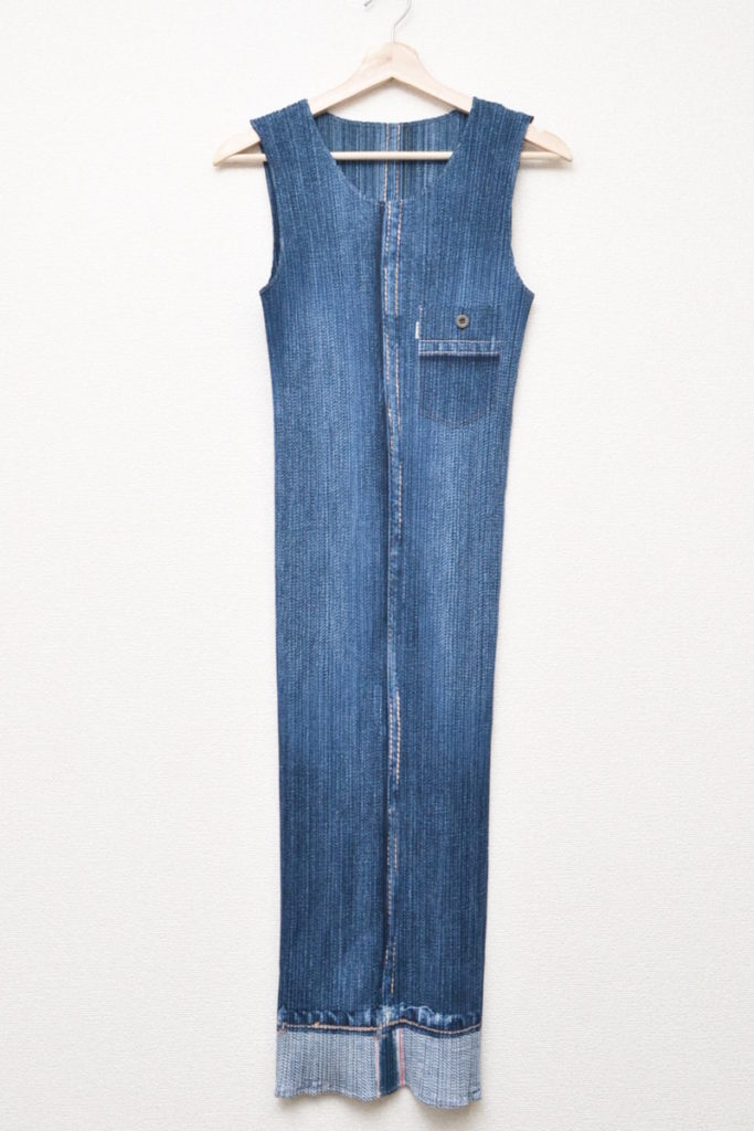 2000SS/胸ポケット付き デニム風 ロングワンピース