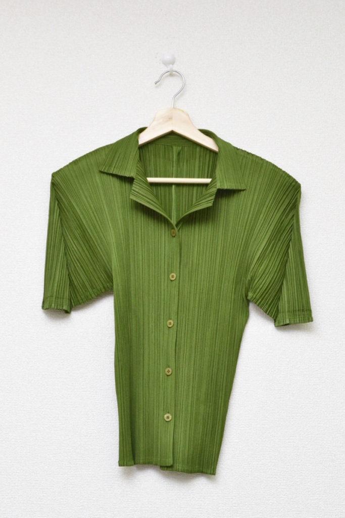 2001AW/開襟 半袖プリーツシャツ ブラウス