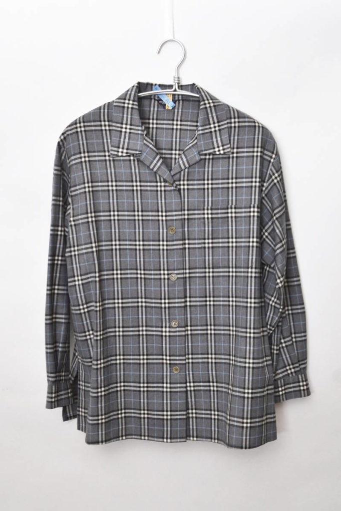 サマーウール チェック オープンカラーシャツ