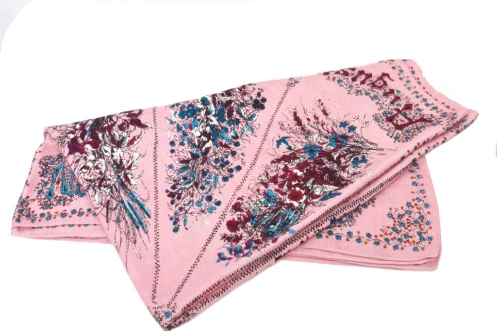 SEASONAL FLOWER ウール シルク 大判スカーフ
