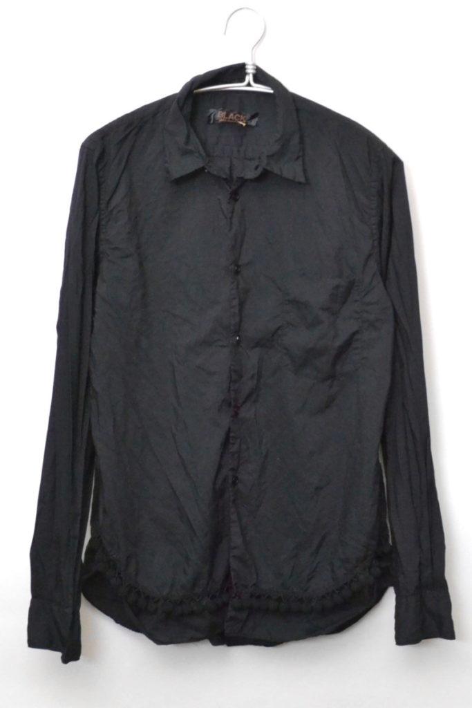 2014SS/裾ポンポンフリンジ ポリエステル縮絨 長袖シャツ