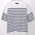 NAVAL S/S ナヴァル半袖 パネルボーダーバスクシャツ カットソー