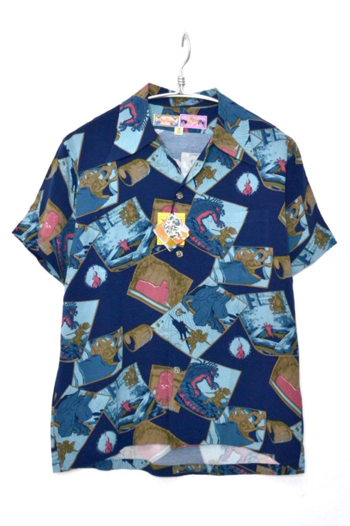 × 手塚プロ ◆ どろろ レーヨンオープンカラーシャツ アロハシャツ