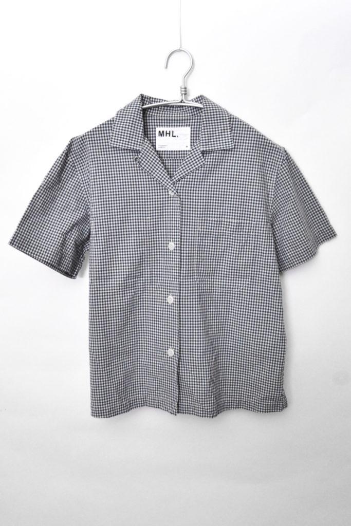 18SS/ コットン ラミー ギンガムチェック 半袖オープンカラーシャツ