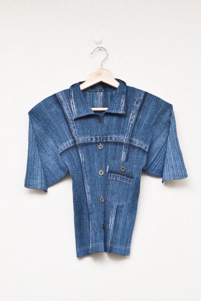 2000SS/胸ポケット デニム風 半袖ブラウス シャツ