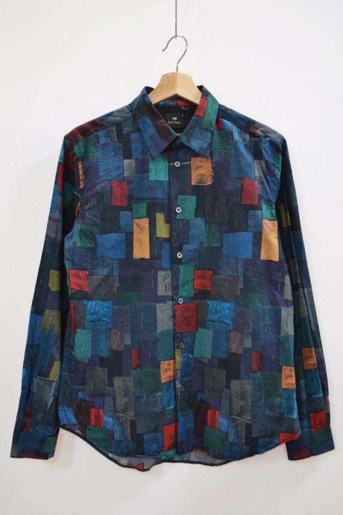 パッチワーク風 長袖シャツ