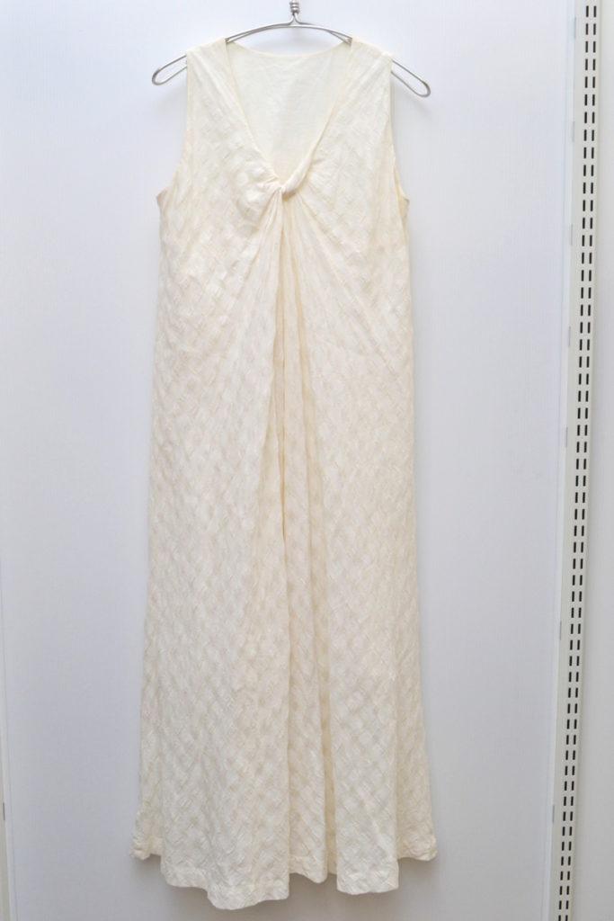 オーガニックコットン 織柄 ノースリーブワンピース