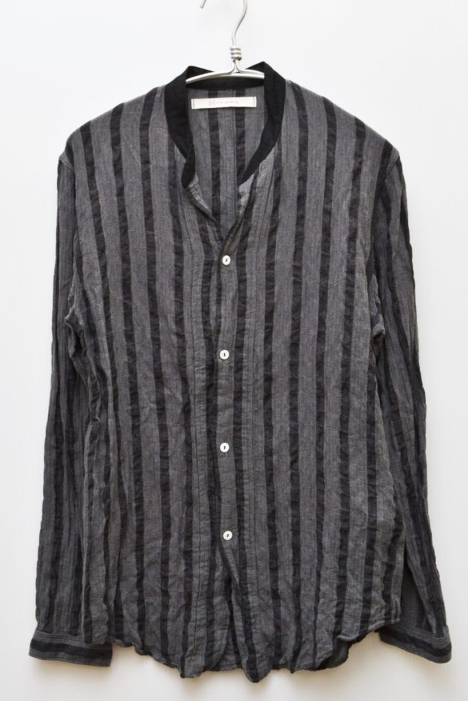 2016ss/cotton tencel shirring bold stripe regular shirts シャーリングシャツ