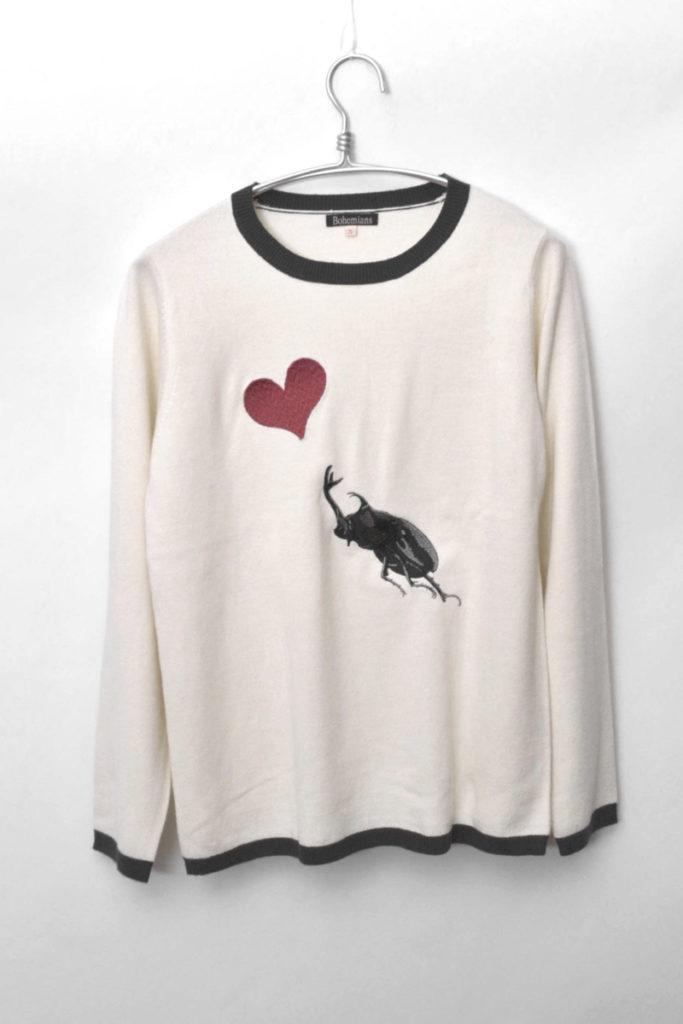 ビッグカブトムシ刺繍 クルーネックニット セーター