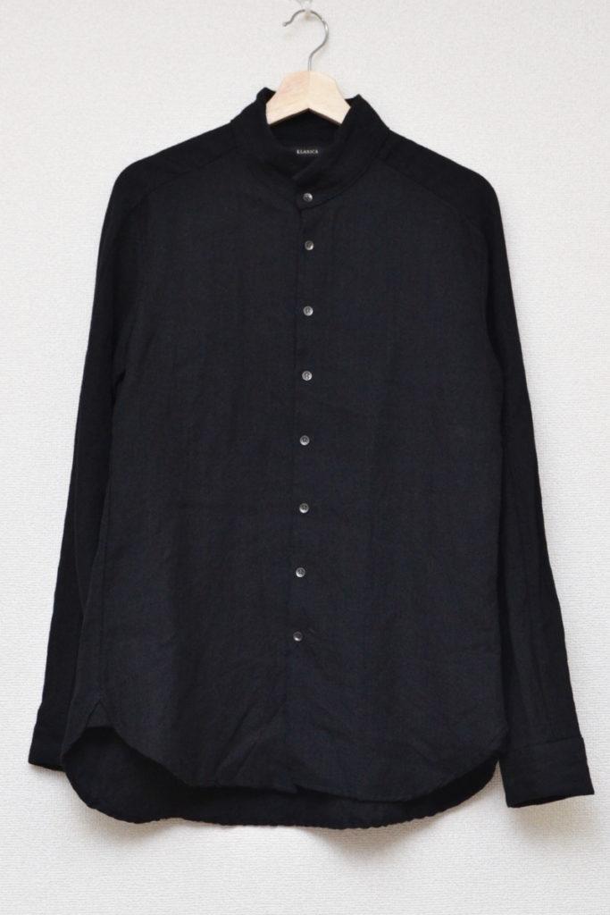 ウールリネン スタンドカラーシャツ