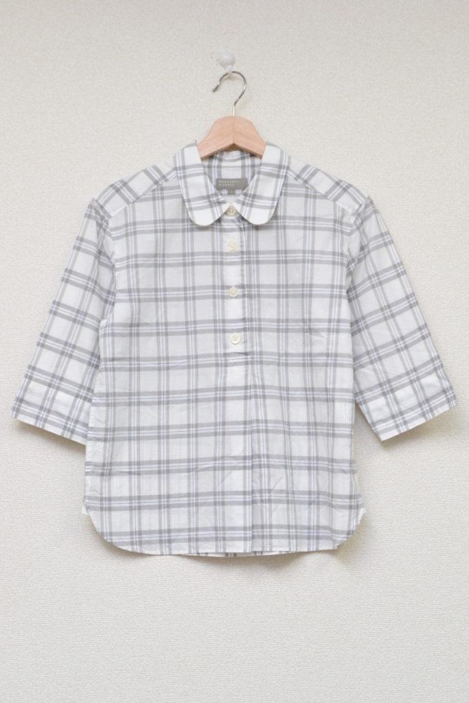 2016SS/丸襟 半袖 チェック プルオーバーシャツ
