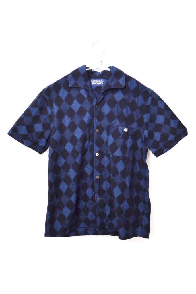アーガイルプリント イタリアンカラー半袖シャツ