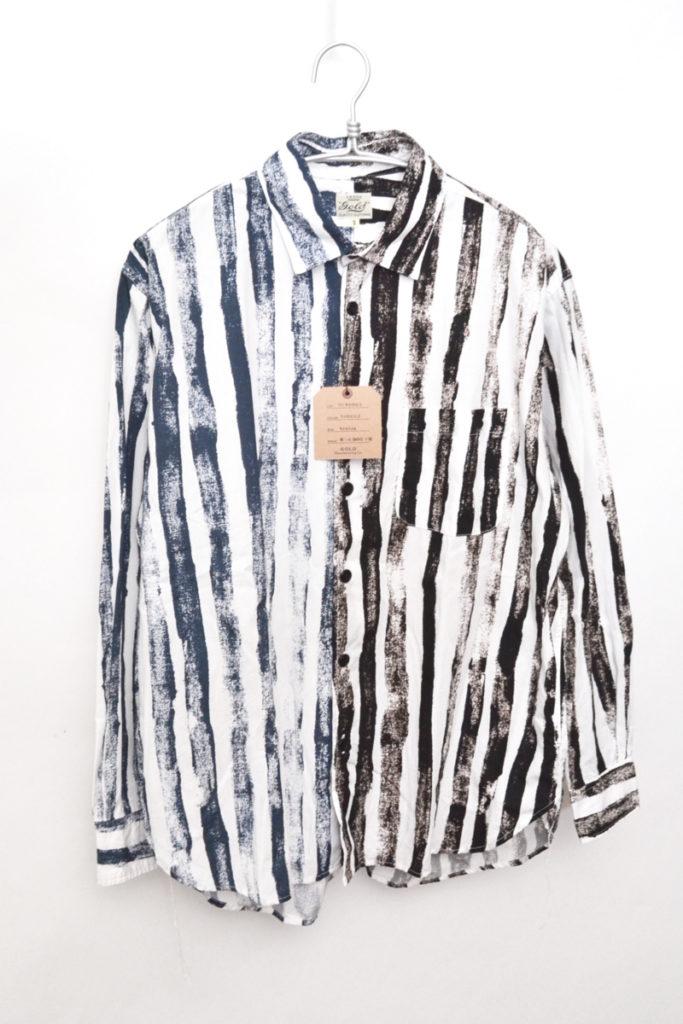 アシンメトリーパターン ブラッシュストライプ ビッグシャツ
