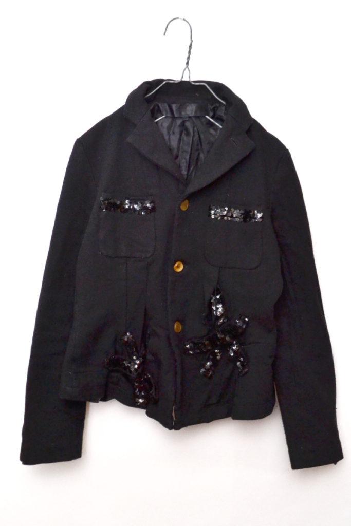 AD2005/ポリ縮絨 製品染め スパンコール装飾ジャケット