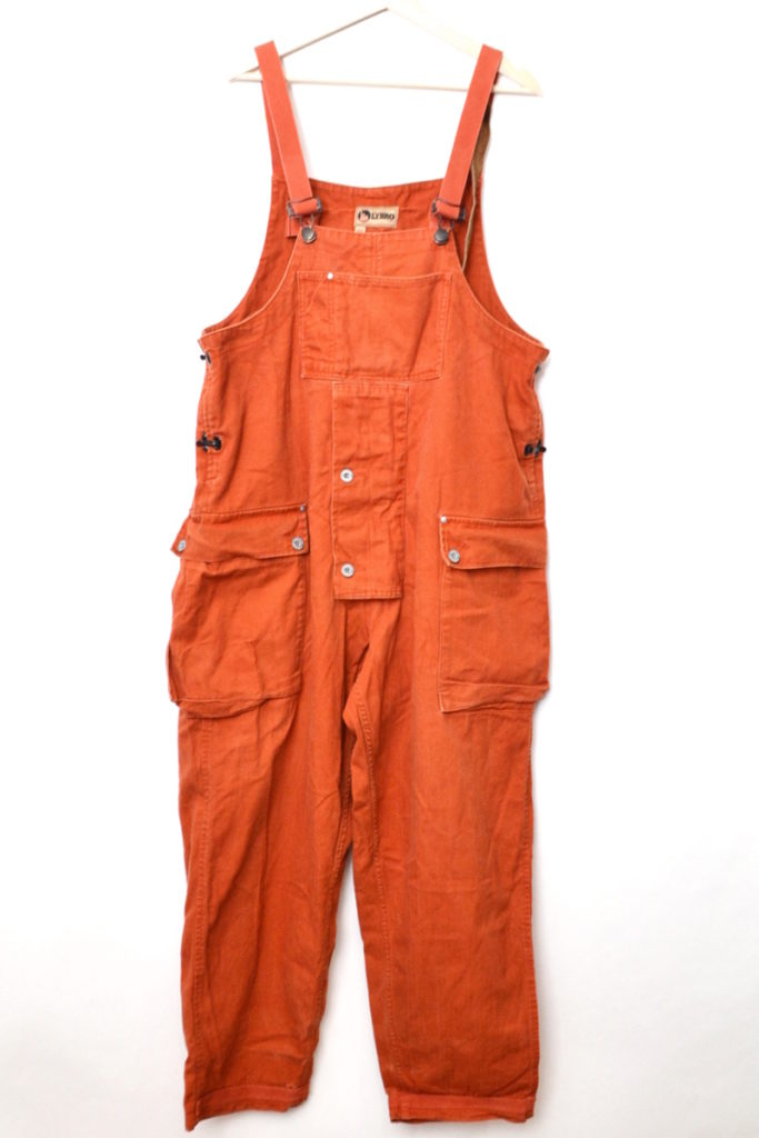 2018AW/ NAVAL DUNGAREE HERRINGBONE DARK ORANGE オーバーオール