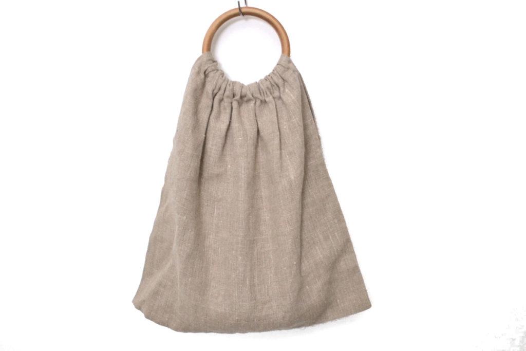 ウッドハンドル リネン ハンドバッグ
