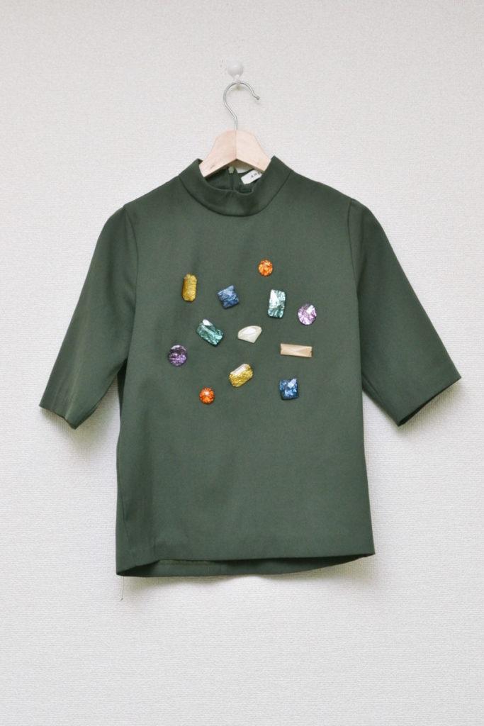 ビジュー装飾 ボトルネックカットソー Tシャツ