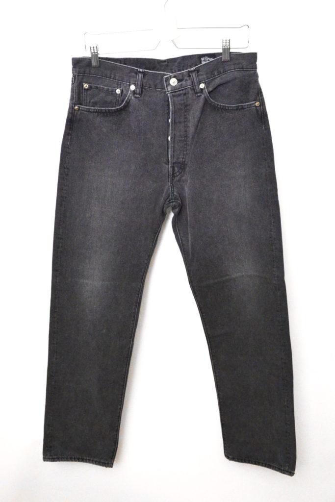 105/ストーンウォッシュ ブラックデニムパンツ スタンダード5ポケットジーンズ
