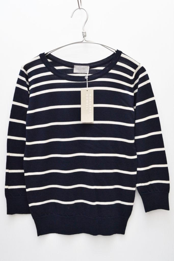 × JOHN SMEDLEY/メリノウール ボーダーニット セーター