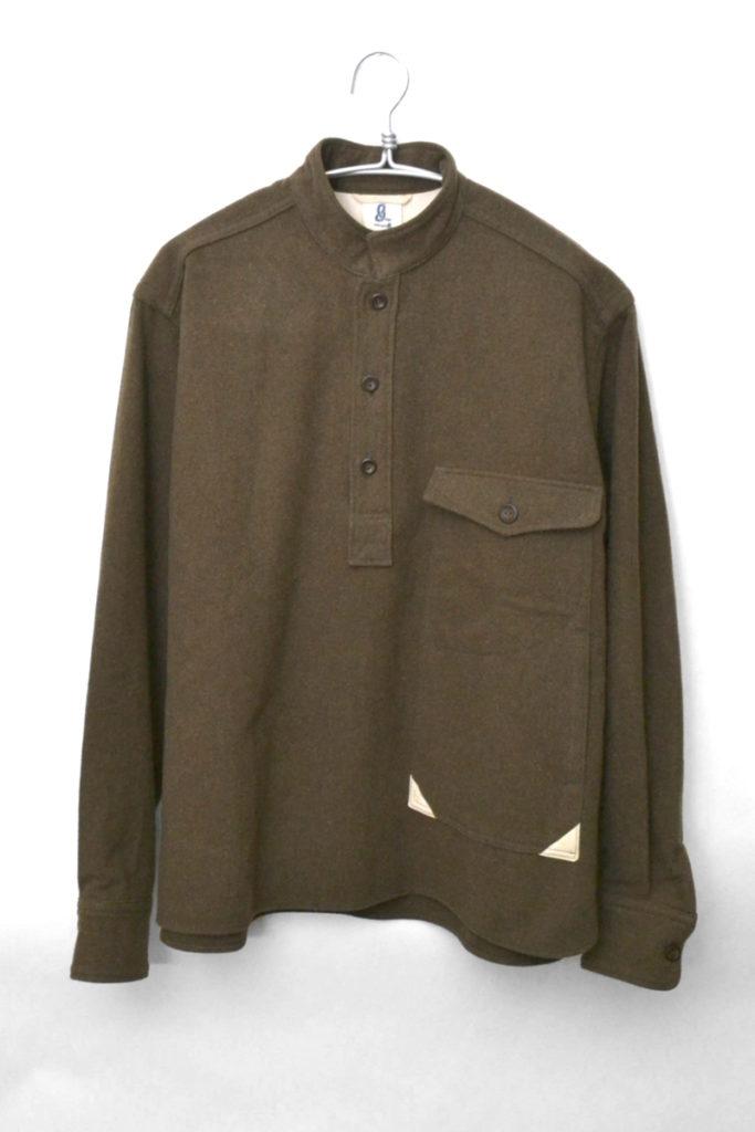 スタンドカラー ウールメルトン プルオーバーシャツジャケット