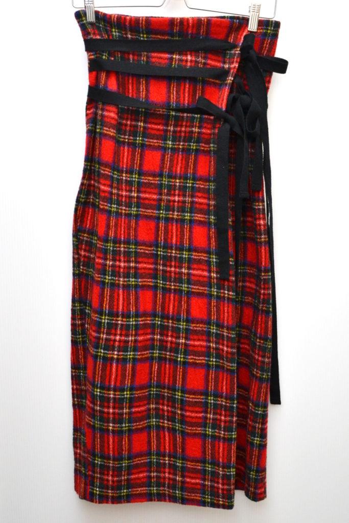 AD1992/ウールチェック ロングラップスカート