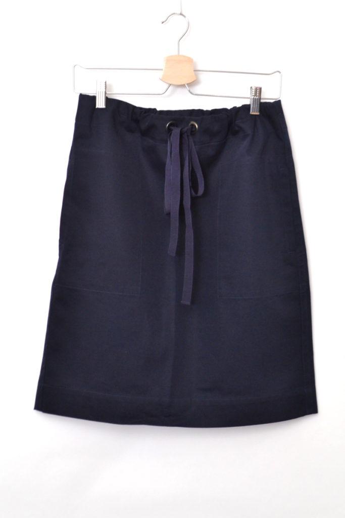 コットン ドローコード付き ボックススカート