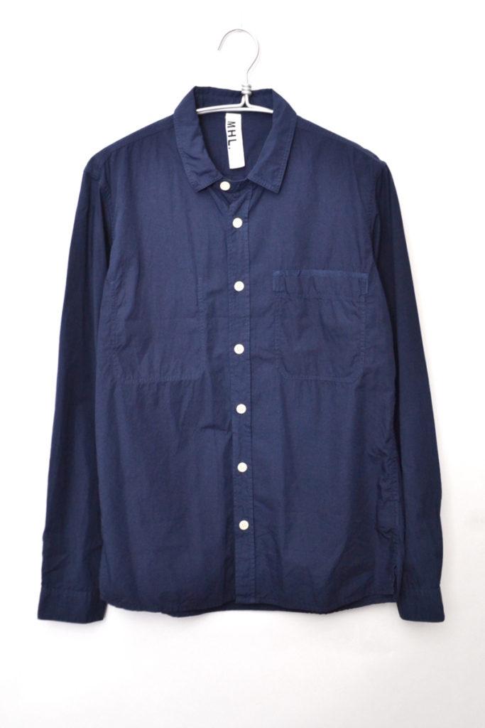 コットンポプリン チンストラップ ワークシャツ