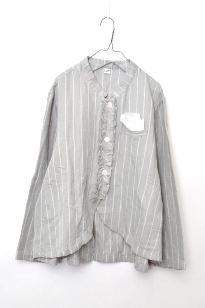 リネンコットンツイル フリル ストライプ シャツ ジャケット ポケットチーフ付き