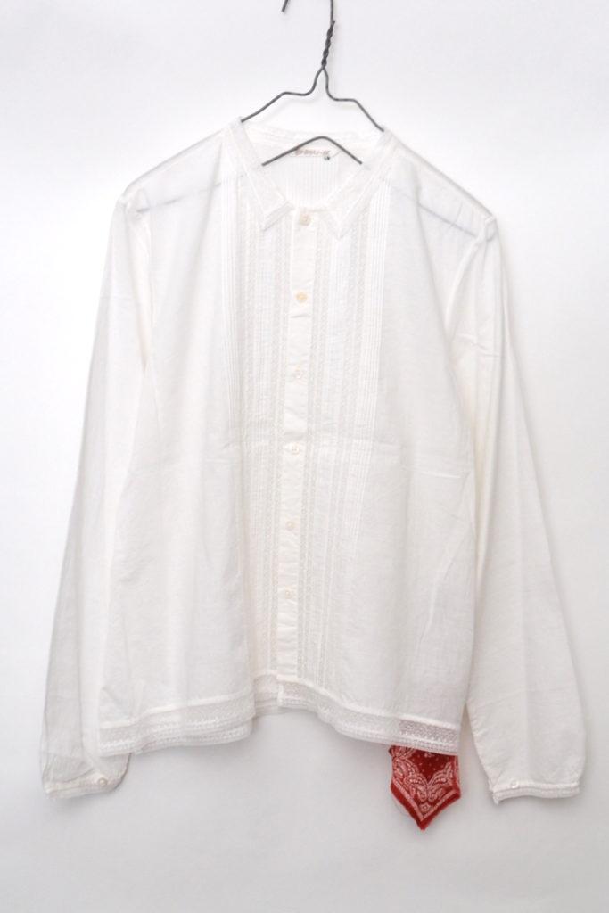 インドカディコットン 襟レースブラウス シャツ