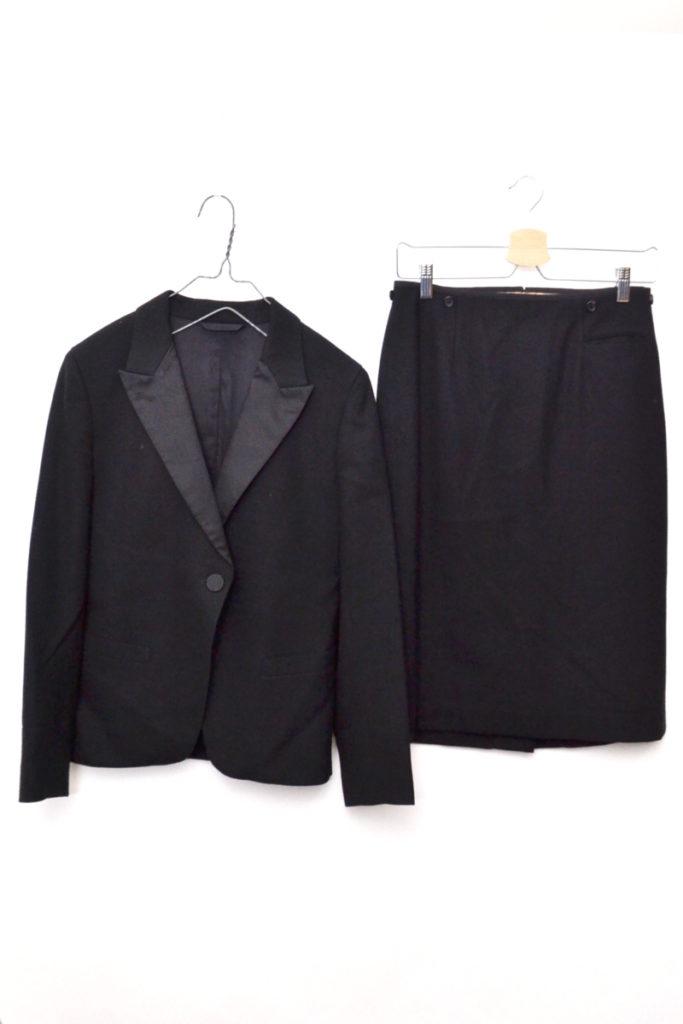 ウールフランネル ラペル切替 スカート スーツセットアップ