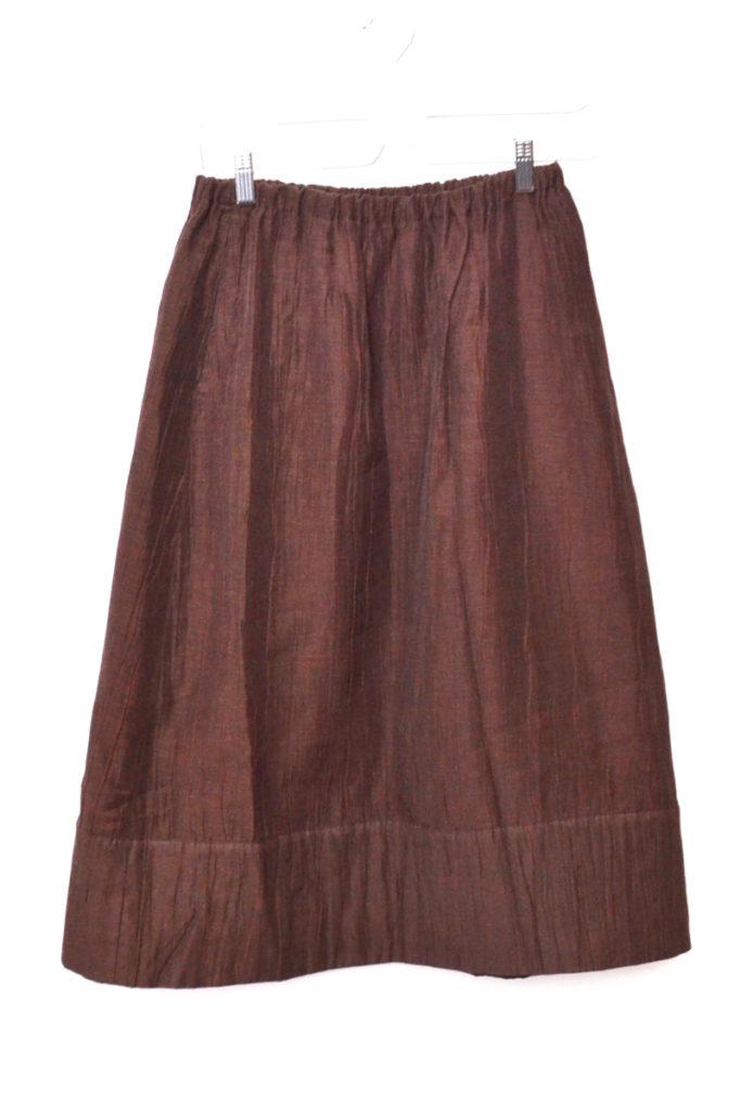 2000AW/ コットンリネン ナイロン シワ加工 中綿スカート