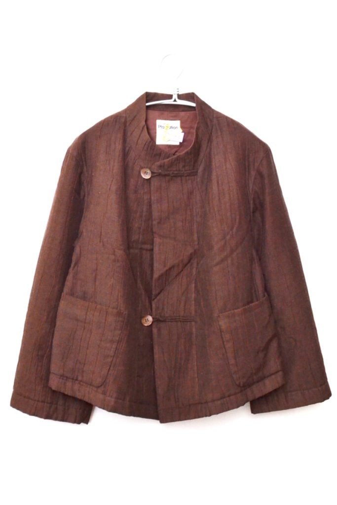 2000AW/コットンリネン シワ加工 中綿 前重ねジャケット