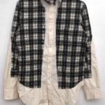 解体再構築 コットン ウール ドッキングシャツ