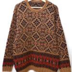 ロールネック ビッグサイズ 総柄ニット セーター