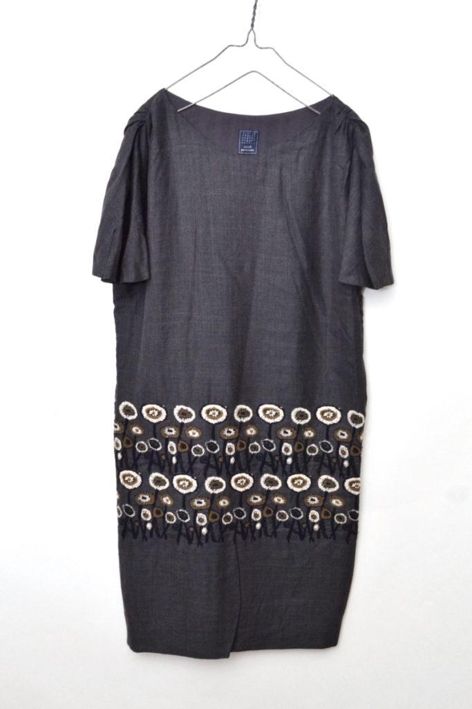 path ウール シルク 刺繍 ワンピース