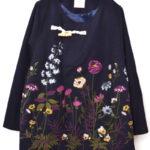 冬のお花刺しゅうメルトンノーカラーコート